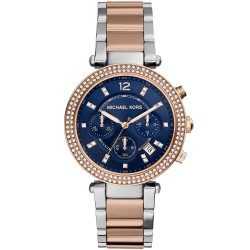 Michael Kors Ladies Parker Two-Tone Navy Chronograph Designer Watch MK6141