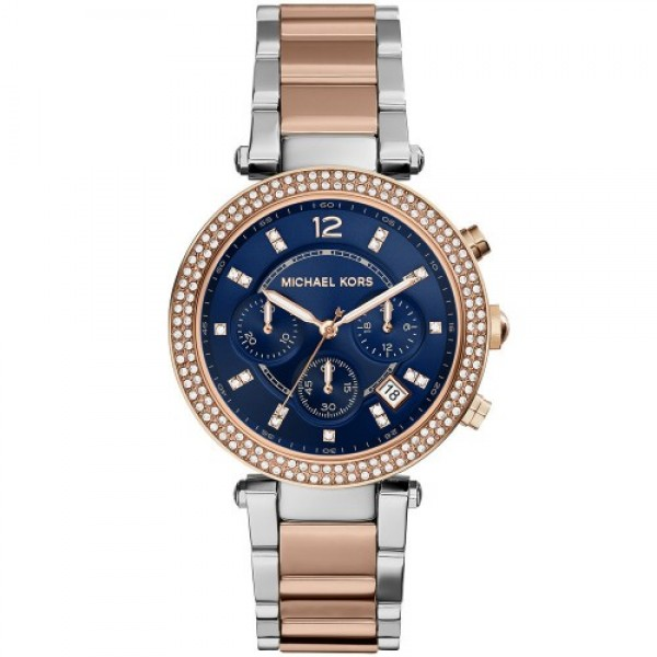 Michael Kors Ladies Parker Two-Tone Navy Chronograph Designer Watch MK6141